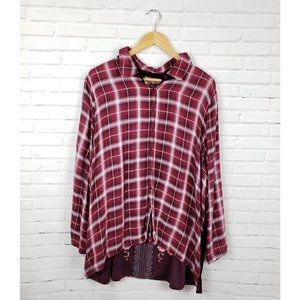 ANDRÉE By Unit Maroon Plaid Velvet Embroidered Top